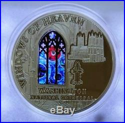 Cook Islands 2014 $10 WINDOWS OF HEAVEN Washington Cathedral withLunar Rock Coin