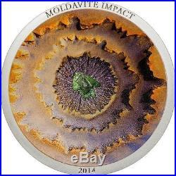 Cook Islands 2014 $5 METEORITE MOLDAVITE IMPACT 1 Oz Silver Coin Real Meteorite
