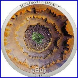 Cook Islands 2014 $5 METEORITE MOLDAVITE IMPACT 1oz Silver Coin Real Meteorite
