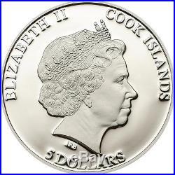 Cook Islands 2014 $5 Moldavite Impact 10 Years Meteorite 1 Oz Silver Proof Coin