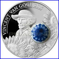 Cook Islands 2015 10$ Royal Delft Sunflowers Van Gogh Porcelain Silver Coin