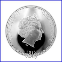Cook Islands 2015 25$ Mississippi Steamboat Mother Of Pearl 5 Oz Silver Coin
