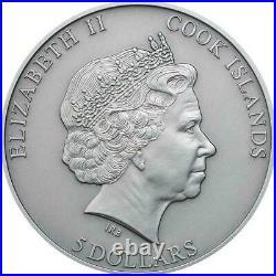 Cook Islands 2015 5$ Chondrite Impact Meteorite Silver 999 1/2 Oz Coin