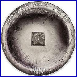 Cook Islands 2015 5 $ Chondrite Impact Meteorite Silver Coin