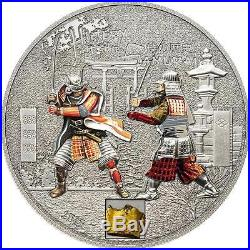 Cook Islands 2015 $5 History of Samurai 1 Oz Silver Coin with Armor pcs Inlay