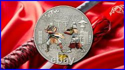 Cook Islands 2015 5$ History of the Samurai 1 Oz Authentic Inlay Silver Coin