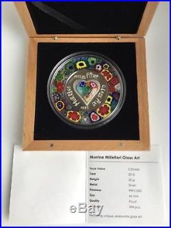Cook Islands 2015 $5 Murrine Millefiori Glass Art 20 g Silver Proof Coin Nice