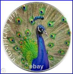 Cook Islands (2015) Magnificent Life Peacock 1oz silver coin (5 NZ$)