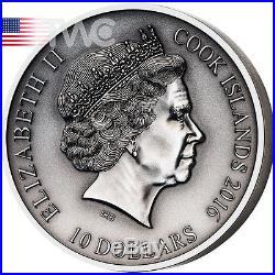Cook Islands 2016 10$ The Norse Gods Freyr 2 oz Antique finish Silver Coin