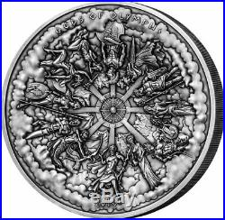 Cook Islands 2016 50 $ Gods of Olympus 3D 1 Kilo Antique Finish Silver Coin 1