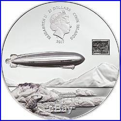Cook Islands 2017 20$ 100th An. Graf Ferdinand von Zeppelin 3Oz 0.999 Silver Coin