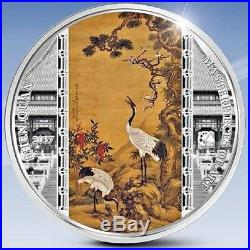 Cook Islands 2017 20$ Masterpieces Of Art Shen Quan Cranes 3 Oz Silver Coin NEW
