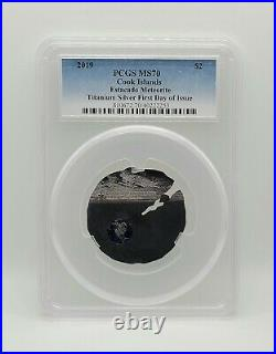 Cook Islands 2019 Estacado Meteorite Titanium Silver Coin PCGS MS70 FDOI