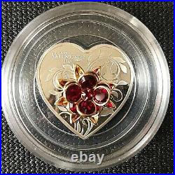 Cook Islands 2019 Happy Valentine's Day Swarovski Heart Shape Silver Coin