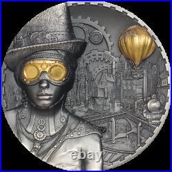 Cook Islands 2020 20$ Steampunk 3 Oz Antique Silver Coin