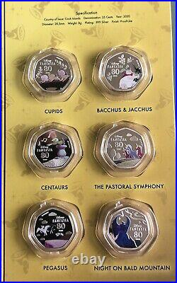 Cook Islands 2020 Fantasia Disney Coloured 25 Cents Silver Plated 14 Coins Set