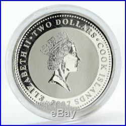 Cook Islands 2$ Sherlock Holmes Baskervilles Hound coloured silver coin 2007