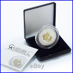 Cook Islands 2 dollars Goldfish Good Luck silver gilded coin 2010