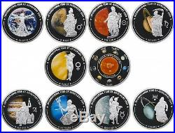Cook Islands 5$ 2009 Set 10 coins Astronomy Silver. 999