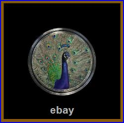 Cook Islands 5 Dollars 1 oz Silver Coin, 2015 High Relief Peacock With Box & COA