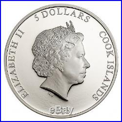 Cook Islands $5 Dollars, 1 oz. Silver Coin, 2015, Mint, Magnificent Life, Peacock, QE