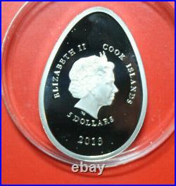 Cook Islands 5 Dollars 2013 Imperial Eggs #F3608, Colored 2 Bohemian Crystals