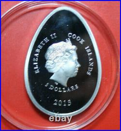 Cook Islands 5 Dollars 2013 Imperial Eggs #F3609, Colored 5 Bohemian Crystals