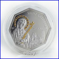 Cook Islands $ 5 Saint Catherine Silver Gilded Octahedron Coin Swarovski 2011