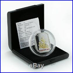 Cook Islands, $5, Vatican Art The Pieta, Swarovski crystal, silver coin, 2009