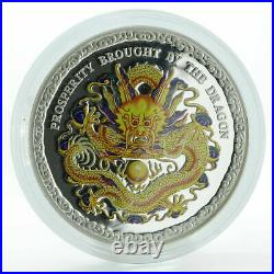 Cook Islands 5 dollars Year of the Dragon (Prosperity) Silver Coloured coin 2012