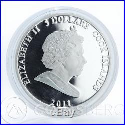 Cook Islands, $5, set, 3 coins, Cheburashka and Crocodile Gena, silver, 2011