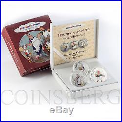 Cook Islands $5 set 3 coins Karlsson Soyuzmultfilm Cartoon Silver Colorized 2011