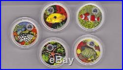 Cook Islands Boxed Silver 5 Coin Coloured Marine Life Series Set