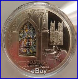 Cook Islands Windows of Heaven Westminster Abbey $10 2011 Silver Coin withcase