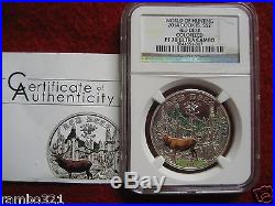Cook Islands World of Hunting NGC PF70 Red Deer PureSilver Coin with COA 2014