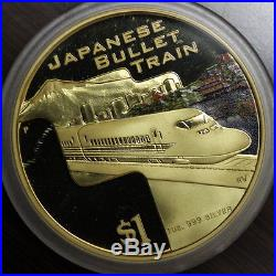 Cook islands 2004 Great Rail Journeys set of gold plated silver coins & shipper