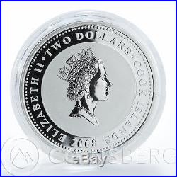 Cook islands 2 dollars Swan Bird Love is Precious heart silver 1 oz coin 2008