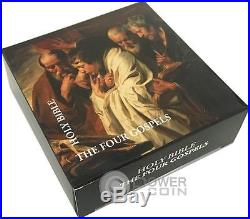 FOUR GOSPELS Holy Bible Nano Chip 1 Oz Silver Coin 5 Dollars Cook Islands 2016