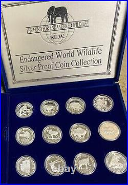 Fund for Endangered Wildlife Silver Proof Set of 24 1990 Cook Islands $50 Coins
