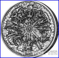 GODS OF OLYMPUS Multiple Layer Relief 1 Kilo Silver Coin 50$ Cook Islands 2016