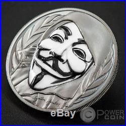 GUY FAWKES MASK Anonymous V for Vendetta 1 Oz Silver Coin 5$ Cook Islands 2016