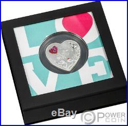 HAPPY VALENTINE DAY Swarovski Heart Shaped Silver Coin 5$ Cook Islands 2021