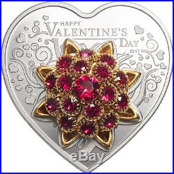 Happy Valentine ´s Day 5 $ Cook Islands Silver Proof Coin Heart Herz 2017