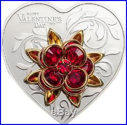 Happy Valentine ´s Day 5 $ Cook Islands Silver Proof Coin Heart Herz 2019