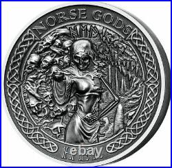 Hel 2 Oz Silver Coin, Cook Islands Mayer Mint Norse Gods series, 2015