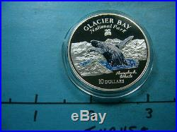 Humpback Whale Glacier Bay National Park Enamel 1997 Cook 925 Silver Coin Rare