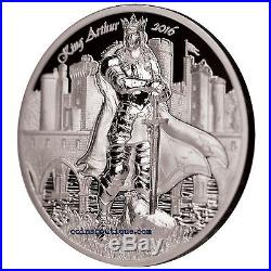 KING ARTHUR-Camelot Knights Round Table 2oz Silver Proof Coin Cook Islands 2016