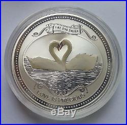 LOVE IS PRECIOUS Heart Swan White Bird 1oz pure silver coin $2 Cook Islands 2008