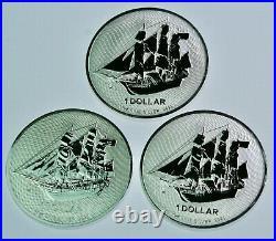 Lot of 3- 2020 1 oz Silver. 9999 Fine Cook Island $1 HMS Bounty Ship Coin BU