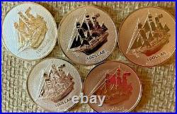 Lot of 5 (five) 2020 1 oz. 9999 Cook Islands Silver HMS Bounty 5 oz total